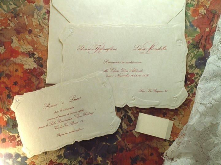 Partecipazioni Matrimonio Pergamena.Partecipazioni Di Matrimonio Rettangolare Stile Pergamena