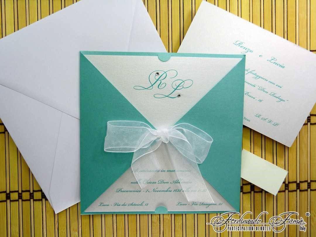 Partecipazioni Matrimonio Azzurro : Partecipazioni di nozze quadrata con fiocco iniziali e brillantino