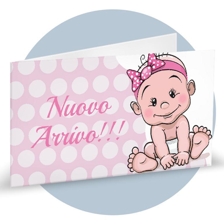 Bigliettino Bomboniera Nascita rosa con bimba cod. BFF2150
