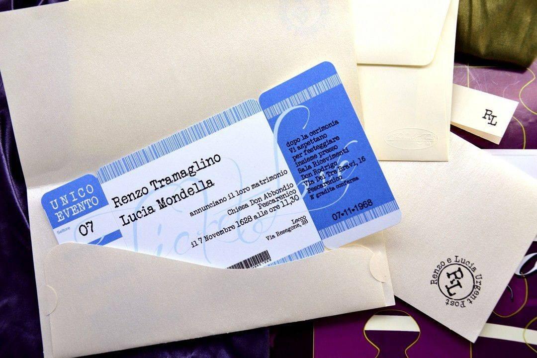 Partecipazioni Matrimonio Azzurro : Partecipazioni di nozze modello biglietto concerto azzurro