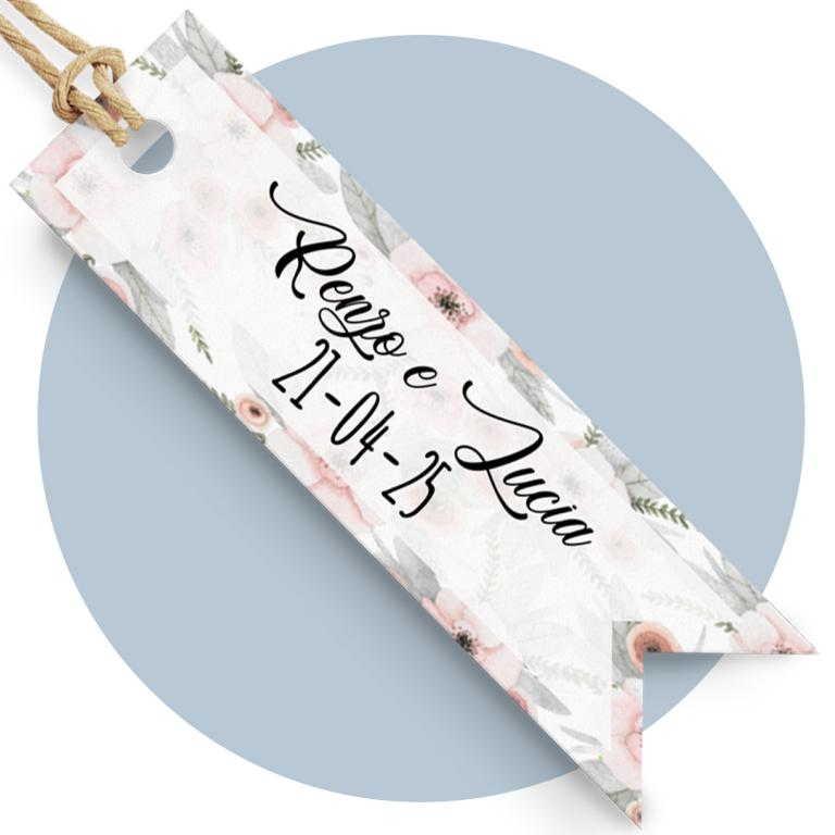 Tag sagomato con fiori rosa cod. FFTAG0045