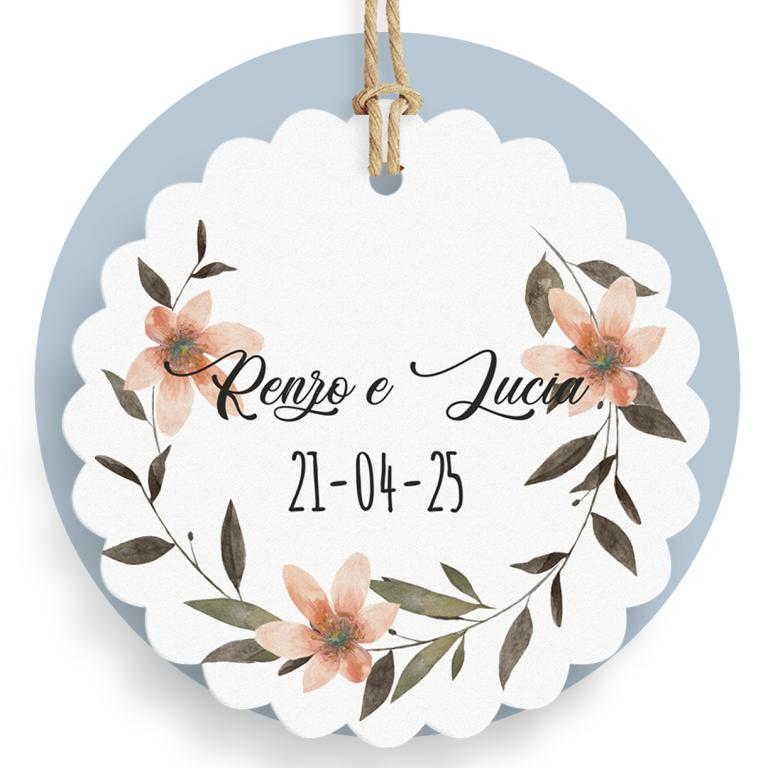 Tag fiore con ghirlanda di fiori cod. FFTAG0052