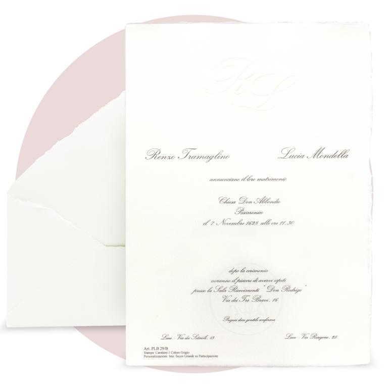 Partecipazioni di nozze in carta pregiata amalfitana bianca