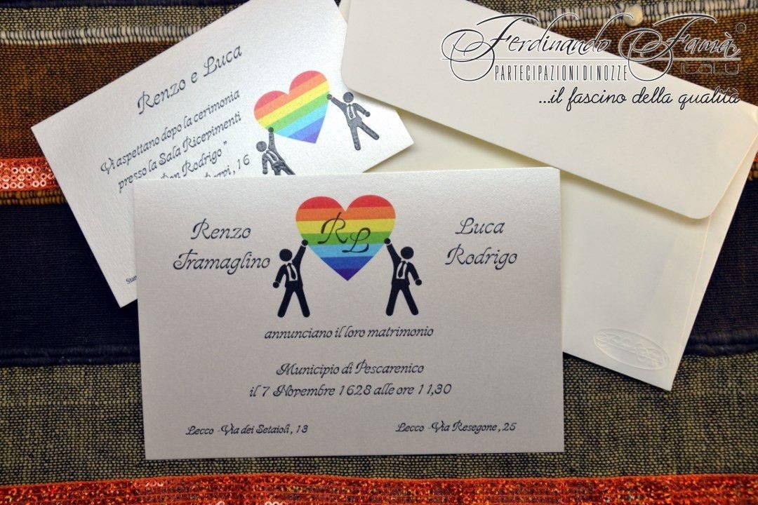 Partecipazioni Matrimonio Gay.Partecipazioni Di Matrimonio Con Cuore Arcobaleno E Sposi Gay
