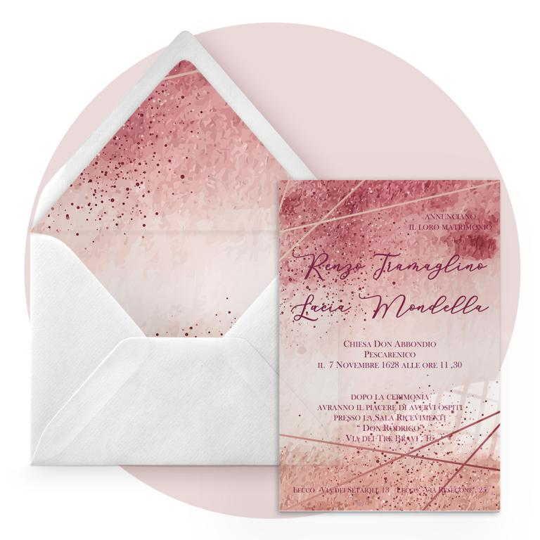 Partecipazione di nozze in plexiglass trasparente rettangolare stampata a colori cod. FPLEX19