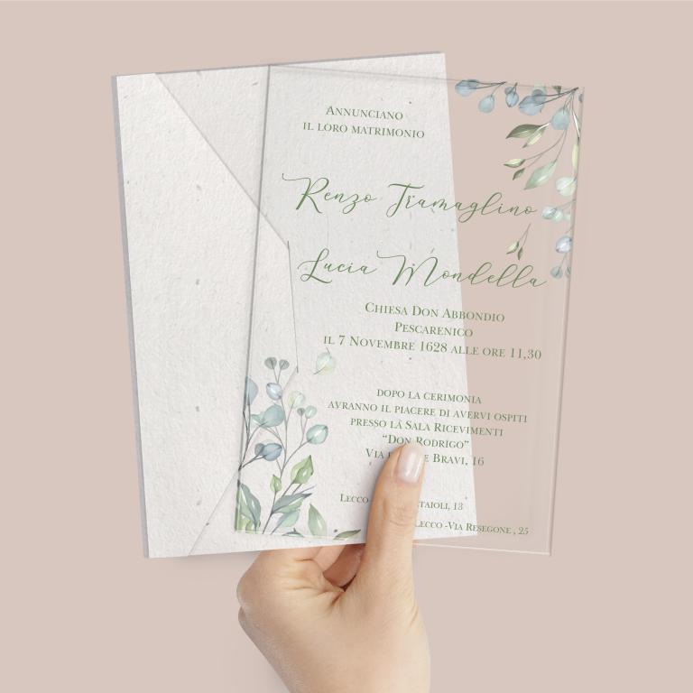 Partecipazione di nozze in plexiglass trasparente rettangolare con rami di ulivo cod. FPLEX21
