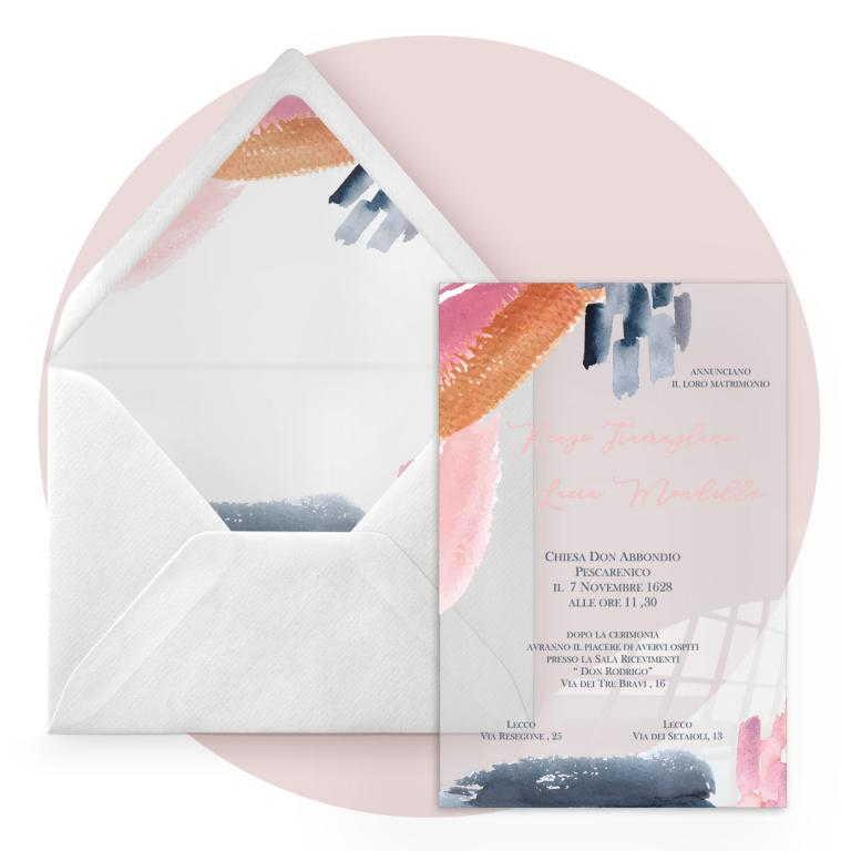 Partecipazione di nozze in plexiglass trasparente rettangolare con pennellate colorate cod. FPLEX45