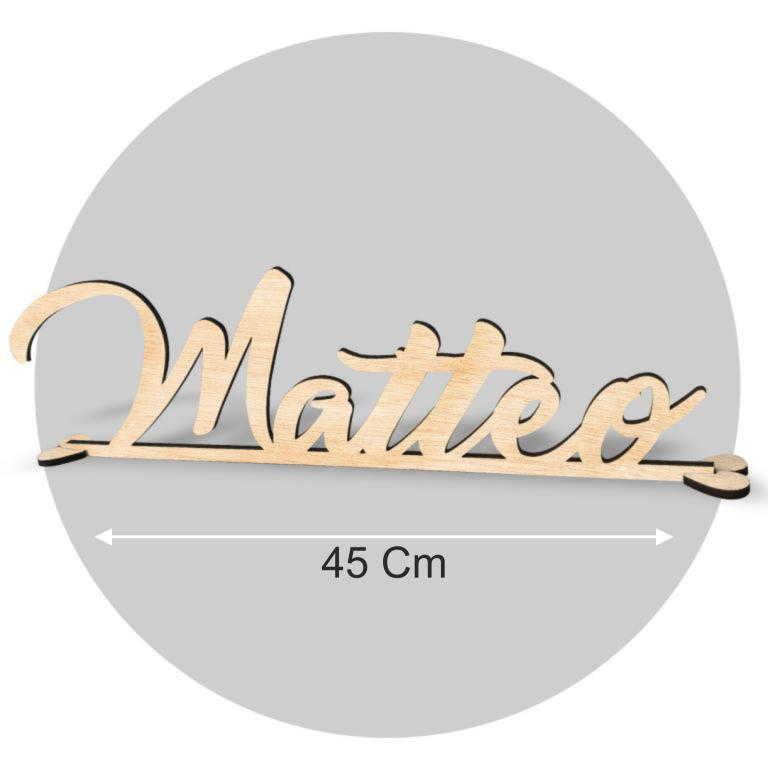 Nome in legno formato cm 45X20 cod. FWN-M