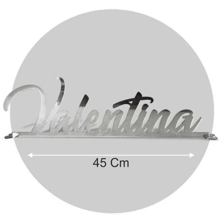 Nome in plexiglass argento formato 45x20 cod. FPS-M