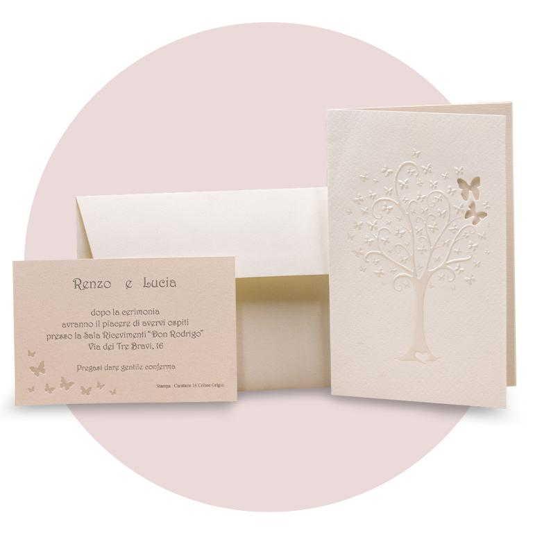 Partecipazioni di nozze a libro con albero a rilievo e farfalle