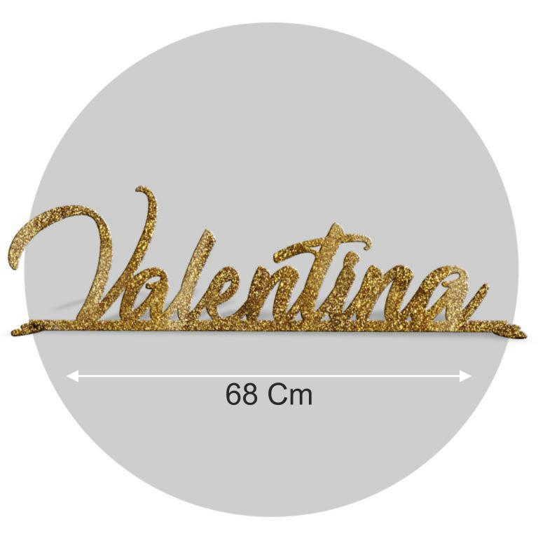 Nome in plexiglass glitter oro formato 68x22 cod. FPGlitG-L