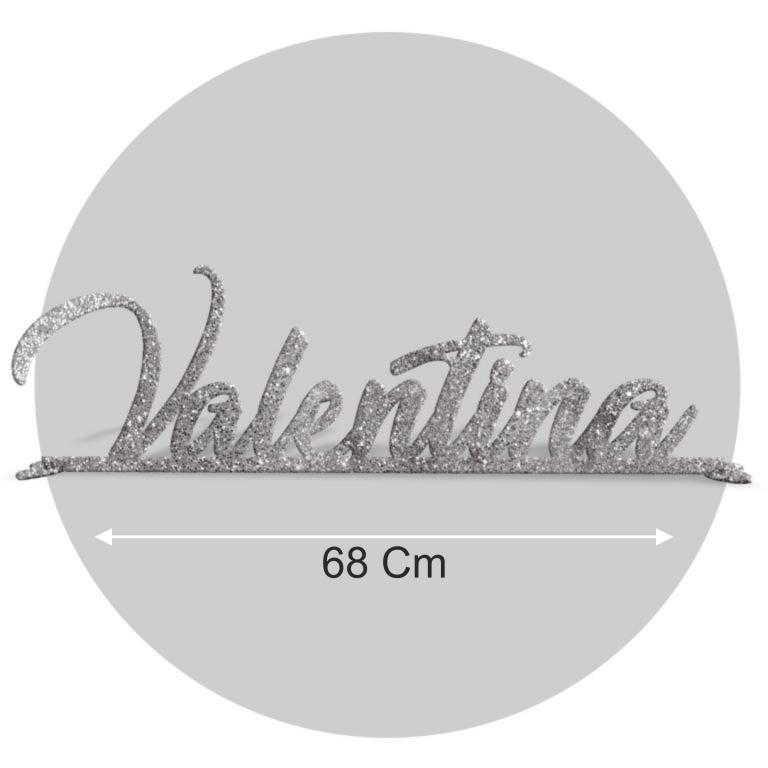 Nome in plexiglass glitter argento formato 68x22 cod. FPGlitS-L