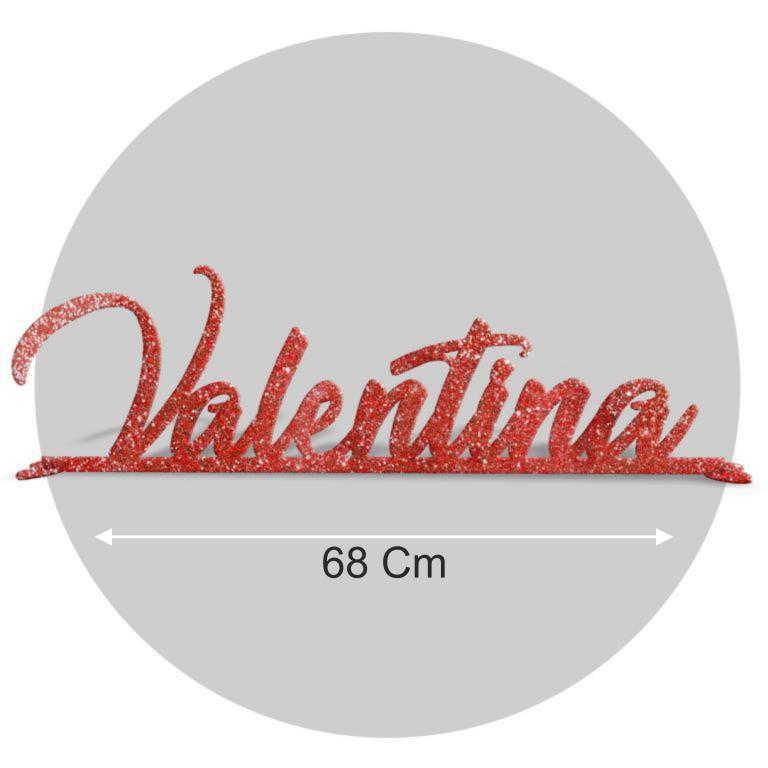 Nome in plexiglass glitter rosso formato 68x22 cod. FPGlitR-L