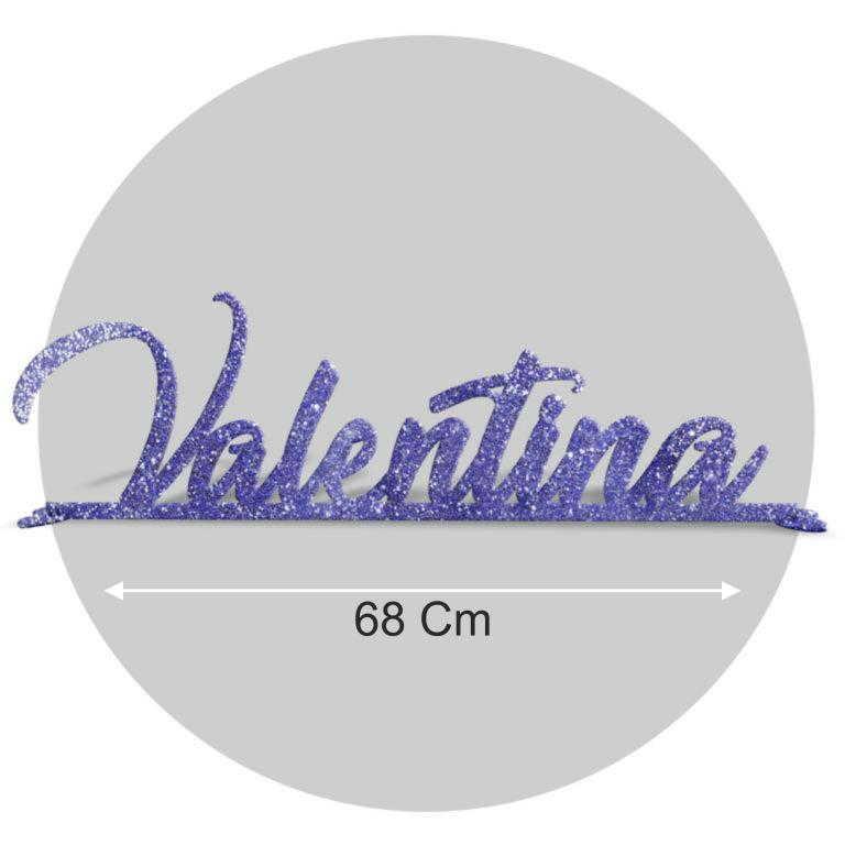 Nome in plexiglass glitter blu formato 68x22 cod. FPGlitB-L