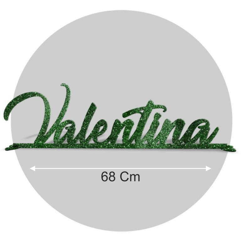 Nome in plexiglass glitter verde formato 68x22 cod. FPGlitV-L