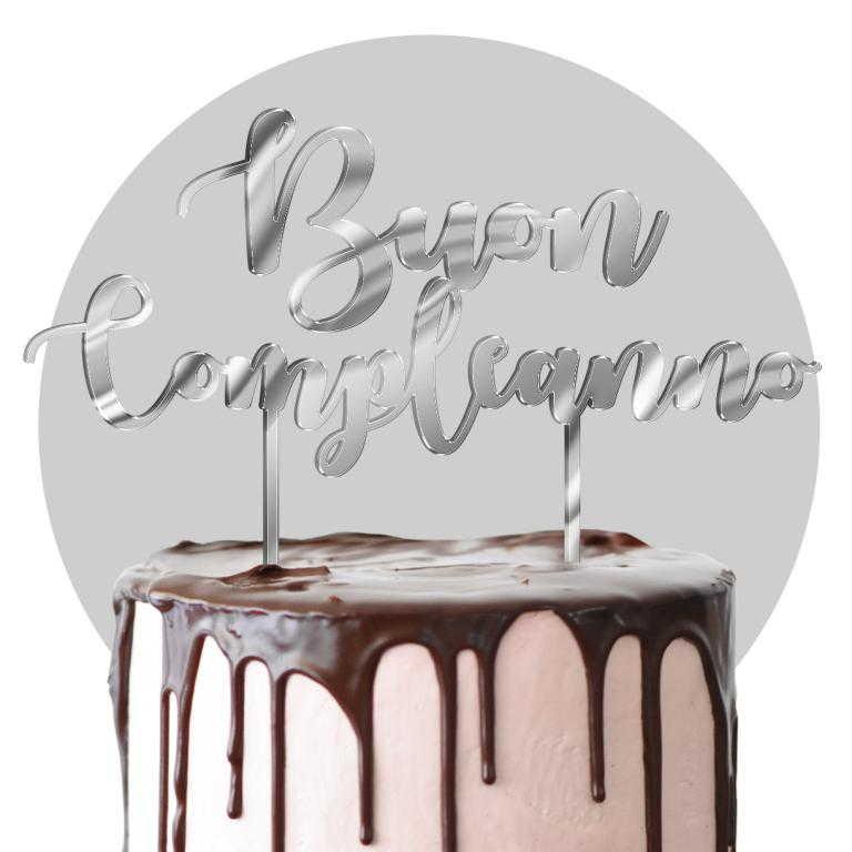 Cake topper in plexiglass argento formato max cm 25x25