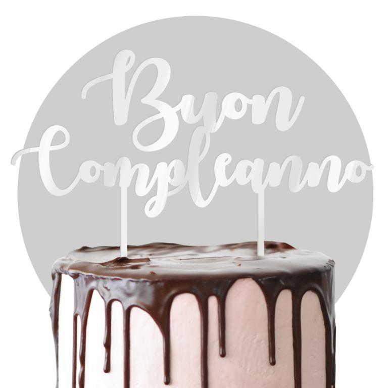 Cake topper in plexiglass bianco formato max cm 25x25