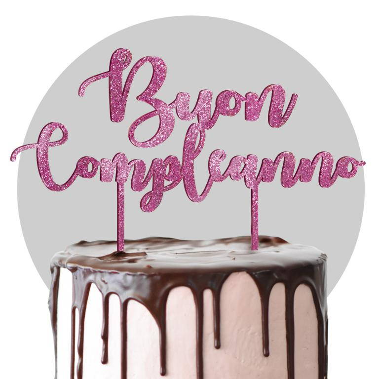 Cake topper in plexiglass fucsia glitter formato max cm 25x25