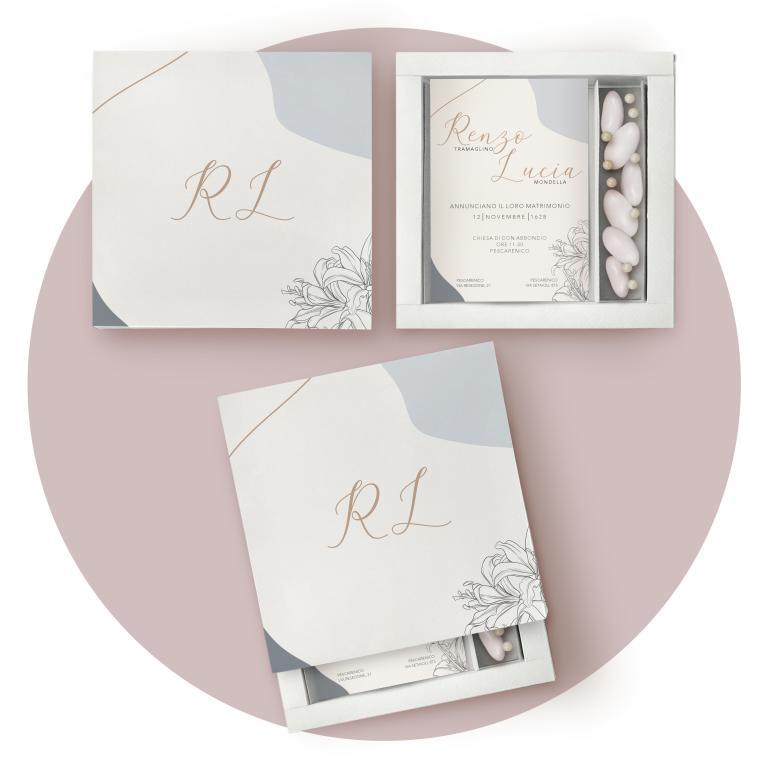 Partecipazione matrimonio scatola porta confetti, minimal flower blu