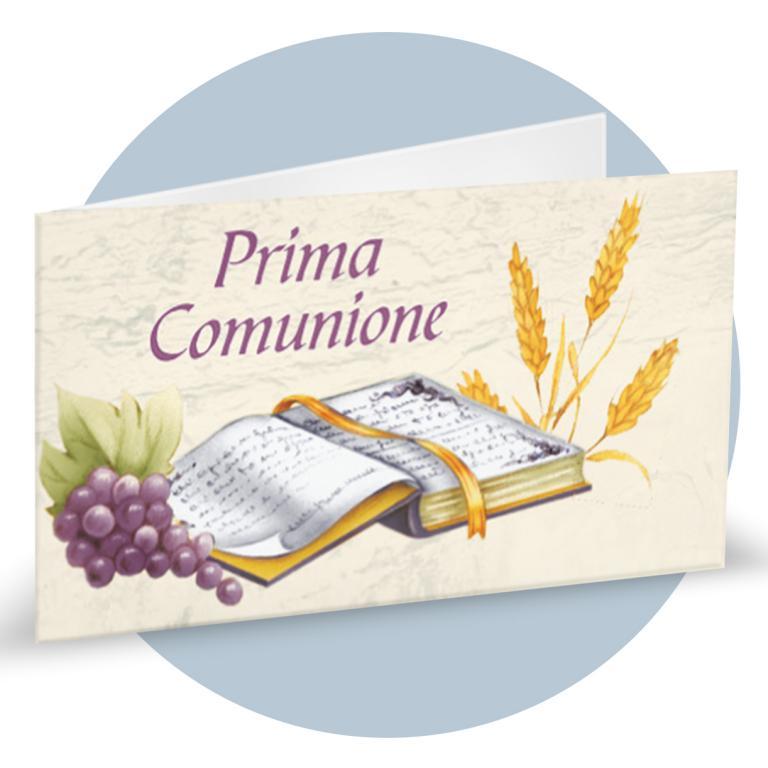 Bigliettino Bomboniere Prima Comunione con simboli comunione (calice, bibbia, uva e spiga) cod.  BFF0043