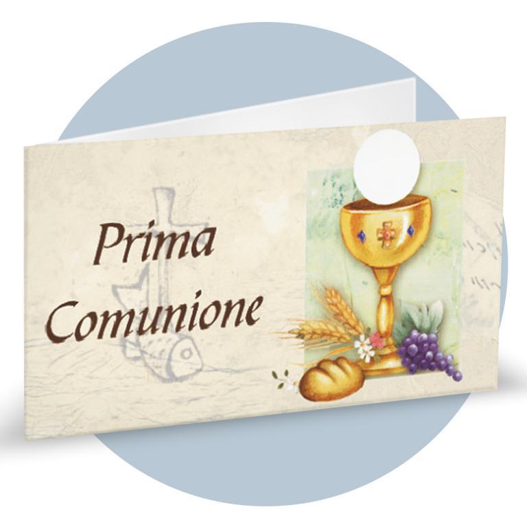 Bigliettino Bomboniere Prima Comunione con calice, bibbia, uva e spiga cod.  BFF0044