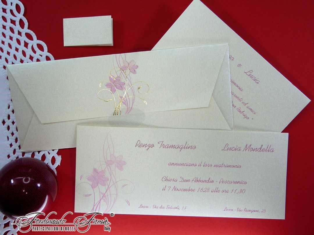 Partecipazioni Matrimonio Rettangolari.Partecipazioni Di Matrimonio Rettangolare Con Fiori Color Rosa