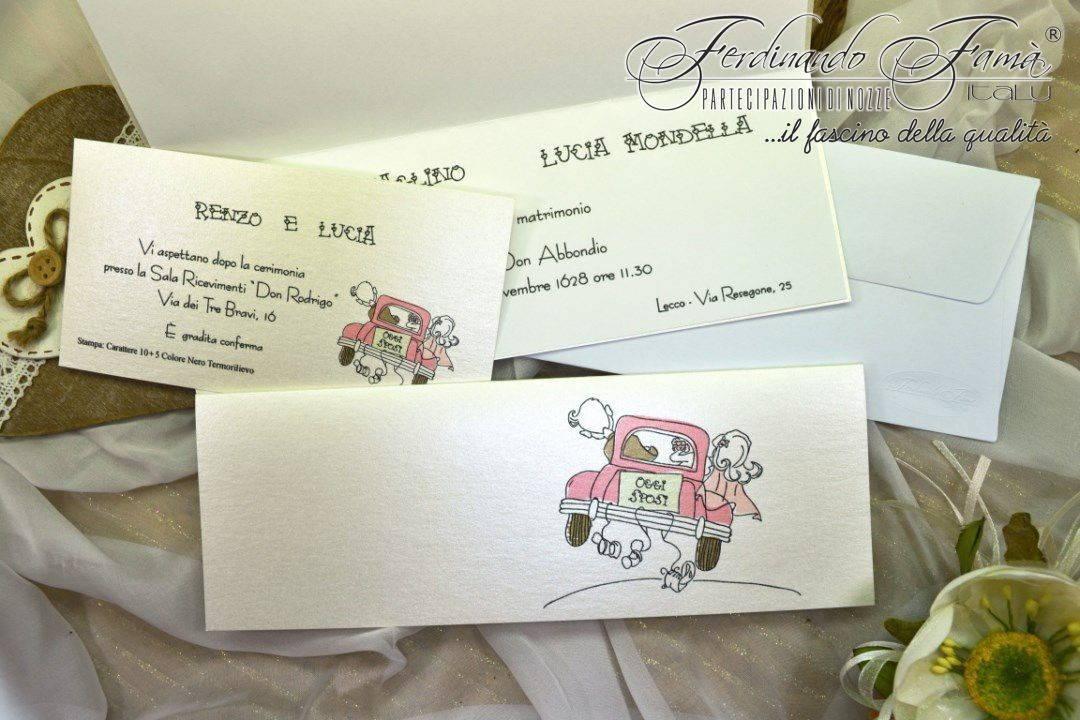 Super Partecipazioni di matrimonio con disegno di auto con sposi AN14