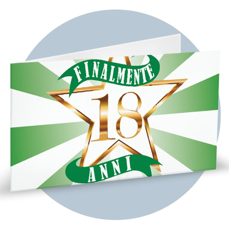 Bigliettino Bomboniera 18 anni verde cod. BFF5026